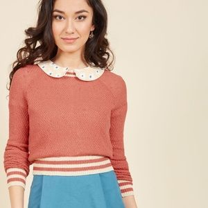 ModCloth coral cropped ringer sweater
